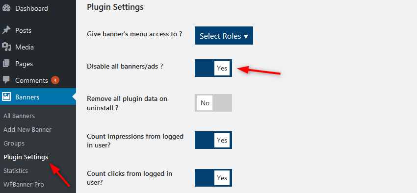 disable adverts WPBanner