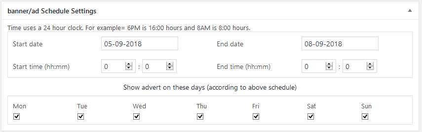 schedule setting WPBanner