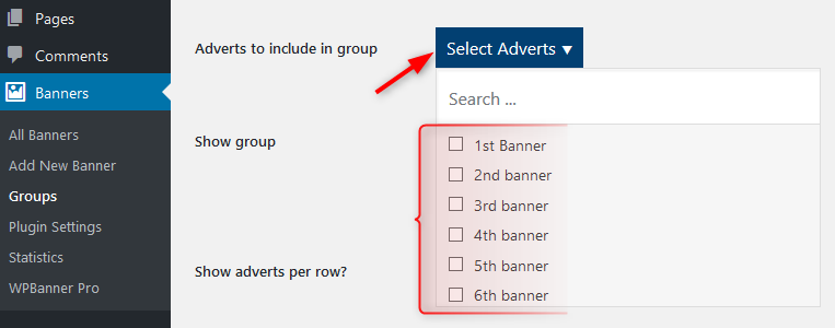 select adverts for group WPbanner