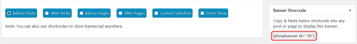 showing via shortcode WPBanner