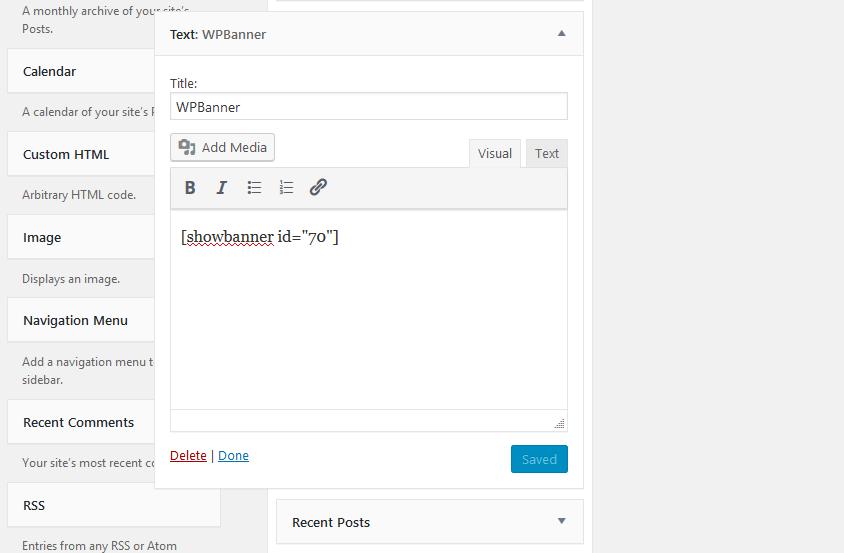 shortcodes widget WPBanner