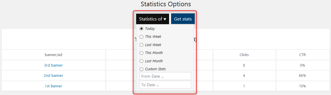 stats options WPBanner Statistics