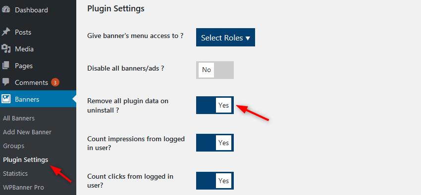 plugin settings uninstall all WPBanner
